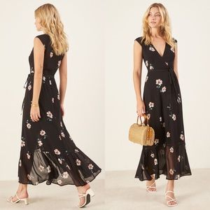 Reformation Dresses - REFORMATION  Haven Black Floral Wrap Maxi Dress